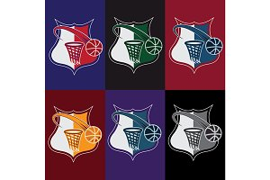 set of vintage basketball crests