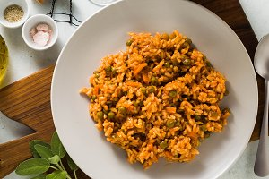 Italian risotto with tomato sauce an