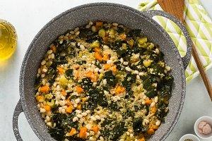 preparing a vegetable soup of kale a