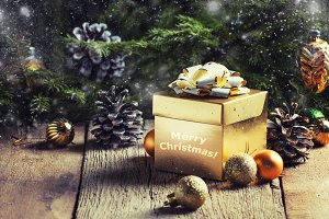 Christmas or New Year gold gift box,