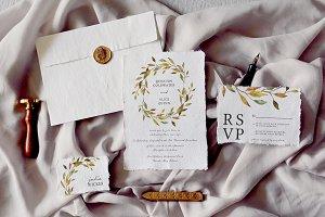 Warm Leaves Wedding Invitation Suite