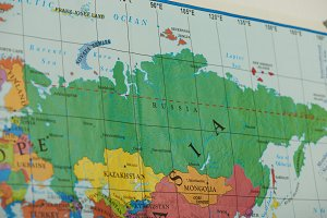 Russia country on paper map