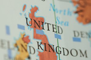 United Kingdom country on paper map