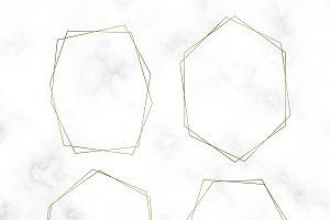 Golden blank hexagon frame vector