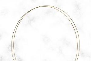 Golden round frame template vector