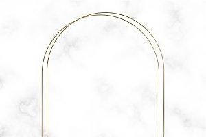 Golden oval frame template vector