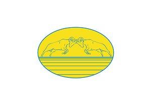 Bighorn Sheep Ram Butting Heads Draw