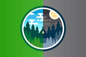 Woods Camp Badges - Day & Night