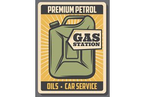 Car oil store, gas station canister