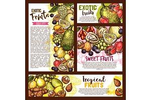 Exotic tropical fruits, vector