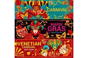 Venetian carnival masks, Mardi Gras