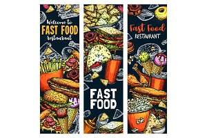 Fastfood burgers and sandwiches