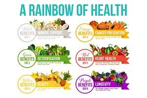 Color diet rainbow food and vitamins