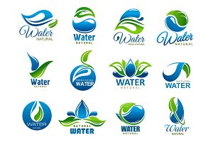 Natural and mineral water, icons