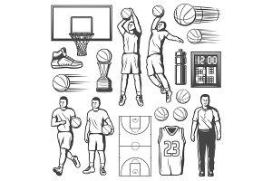 Basketball players and equipment
