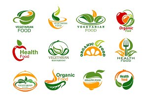 Vegetarian and vegan food icons