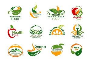 Vegetarian and vegan food icons