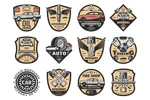 Car repair, service icons