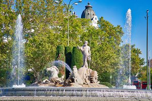 Madrid, Neptune fountain in historic