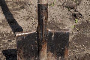 old metal rusty shovel,