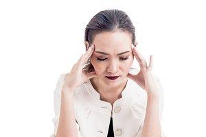 Woman headache and holding head