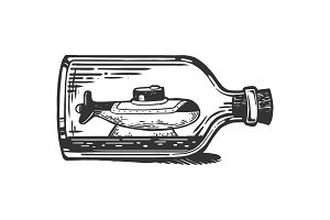 Submarine in bottle engraving vector
