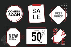Sale and promotion badges vector