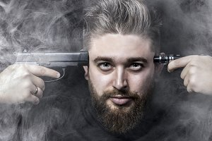 man and electronic cigarette