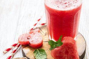 Watermelon smoothie and fresh waterm