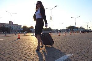 Woman in high heeled footwear