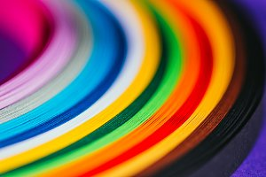 close up of colored bright quilling