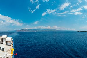 Messina strait from ferry, Sicily, I