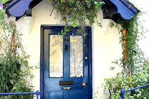 Blue Front Door of Cottage