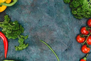 top view of fresh healthy vegetables