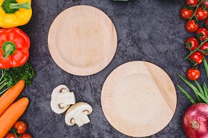 top view of empty wooden plates and