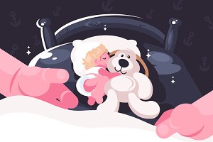 Baby sleeping in crib with toy bear