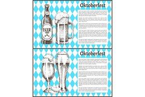 Oktoberfest Posters Beer Set Vector