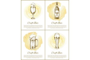 Craft Beer Objects Set Hand Drawn