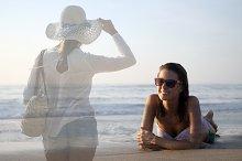 women at beach