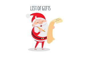List of Gifts. Santa Claus with Wish