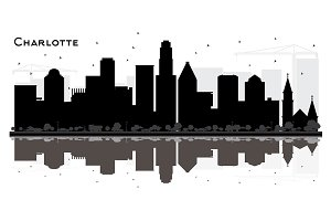 Charlotte City skyline black