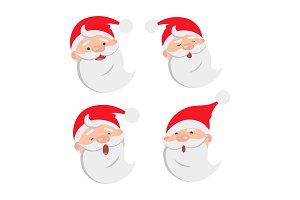 Collection of four Santa Claus Face