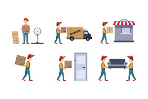 Courier or delivery men set
