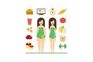 Fat and slim female figures, fast