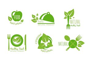 Healthy natural product logos set