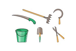 Gardening tools icons set, bucket