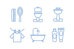 Bathroom icons set, hygiene, body