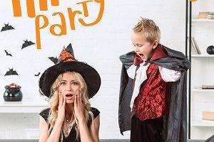 little boy in vampire costume scream
