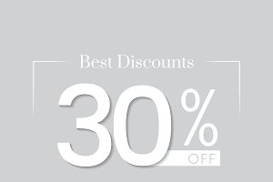 30 percent off sale promotion vector