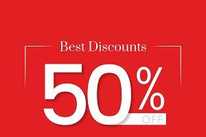 Best discounts 50% off vector